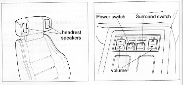 Headrest speakers and control layout